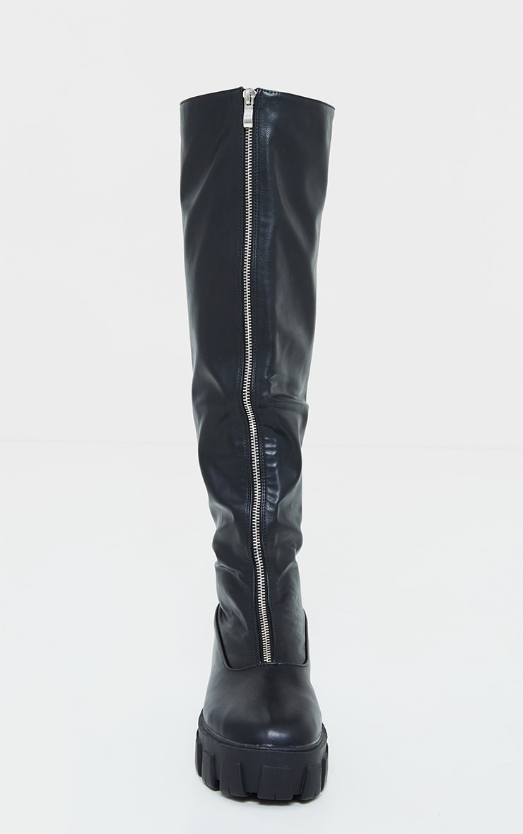Black Extreme Cleated Chunky Sole Zip Up Over The Knee Boots 4