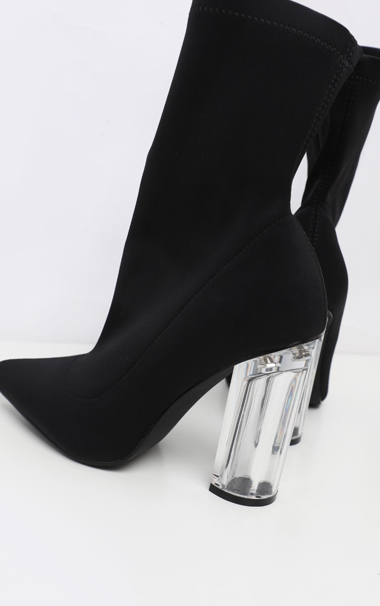 Black Clear High Heel Sock Boot 4