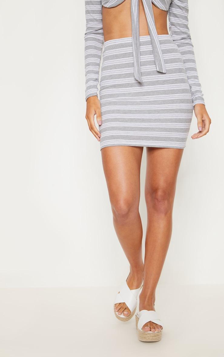 Pale Grey Ribbed Stripe Mini Skirt 2