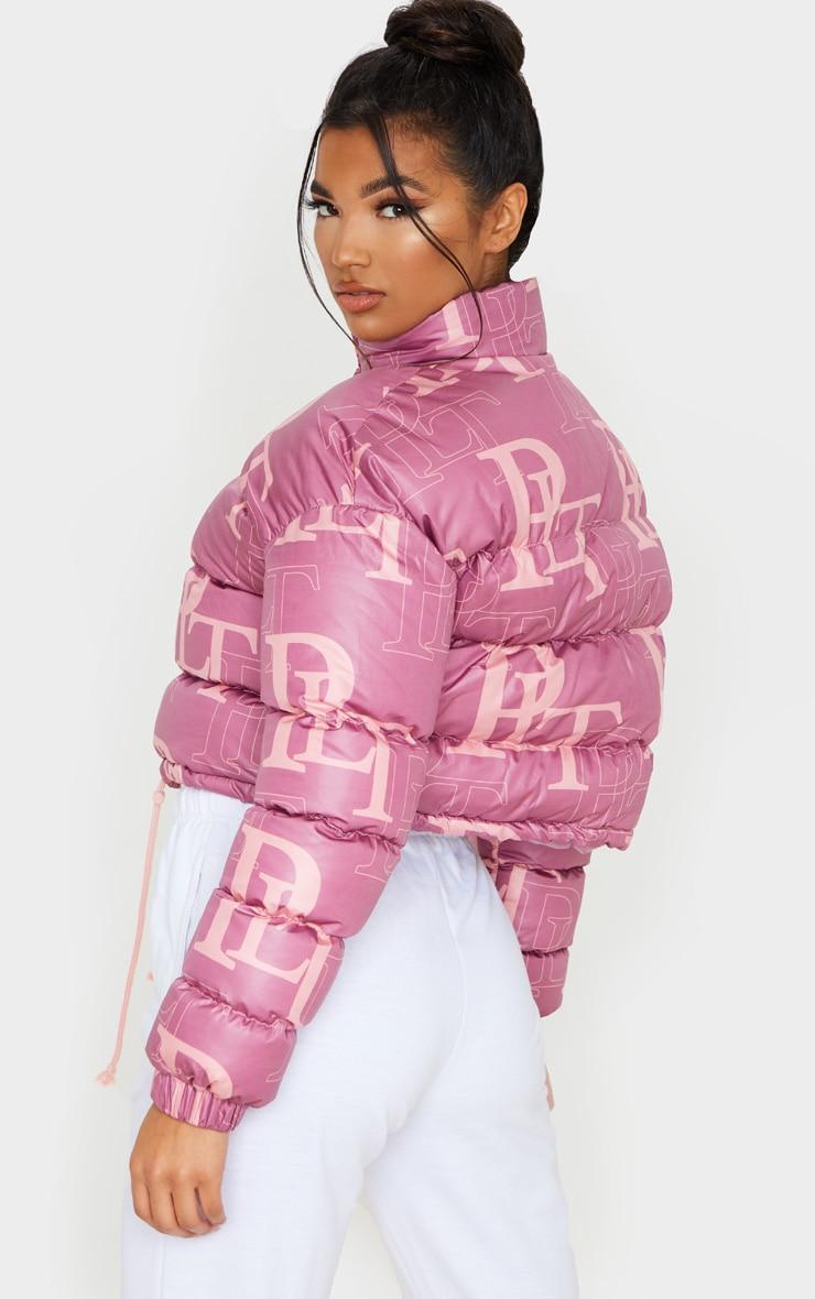 PRETTYLITTLETHING Pink Crop Puffer Jacket 2