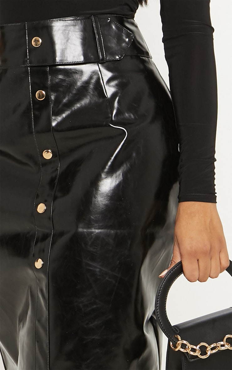 Shape Black PU Button Front Midi Skirt  5