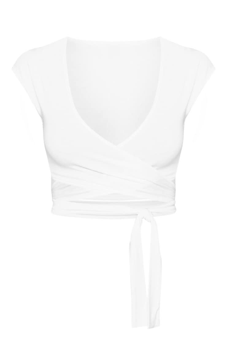 White Jersey Plunge Tie Detail Sleeveless Crop Top 1