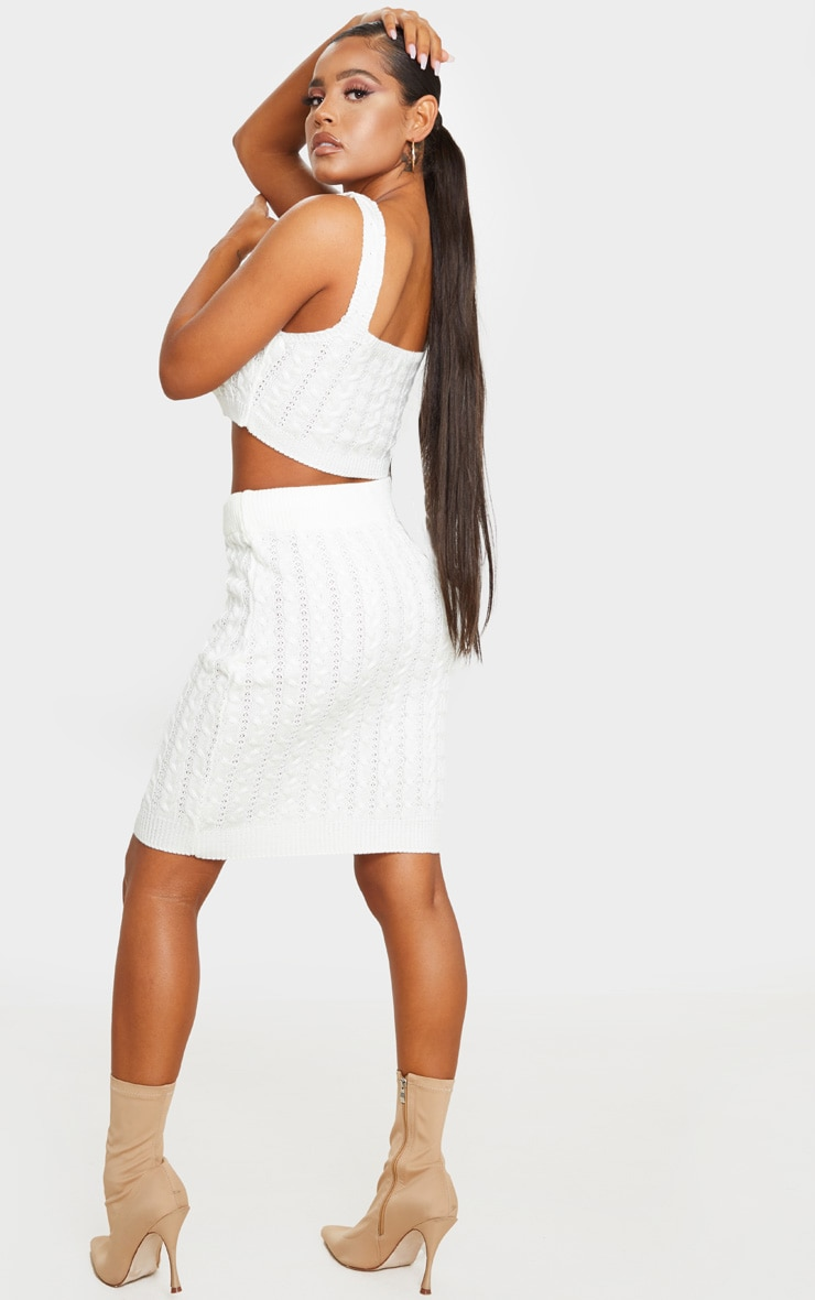 Cream Cable Mini Skirt Knitted Set 3