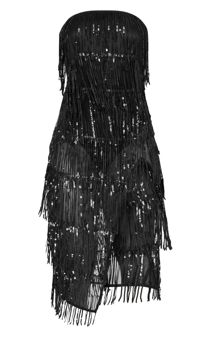 Black Bandeau Tassel Sequin Sheer Skirt Midi Dress 3