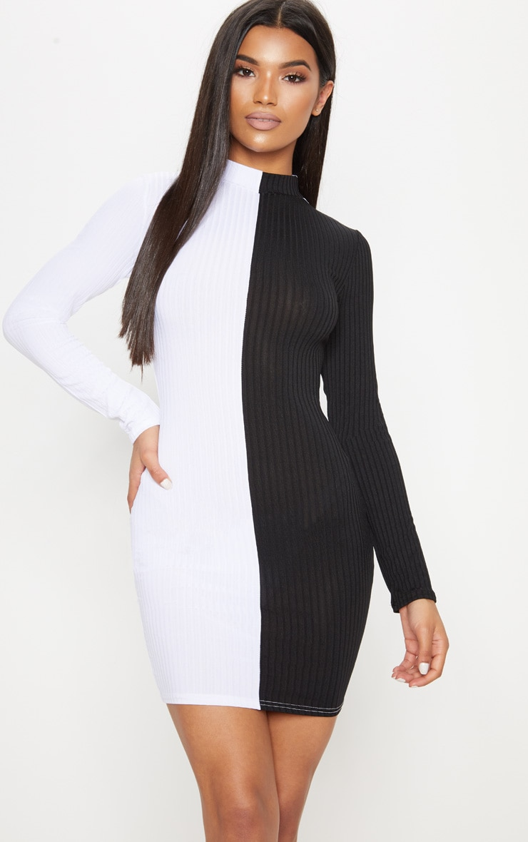 1c67da54e673 Monochrome High Neck Rib Long Sleeve Bodycon Dress image 1