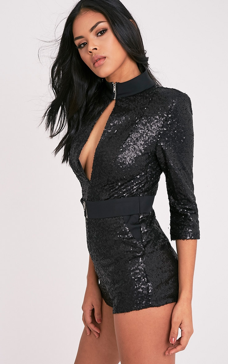 Brigetta Black Sequin Open Hole Belt Playsuit 4