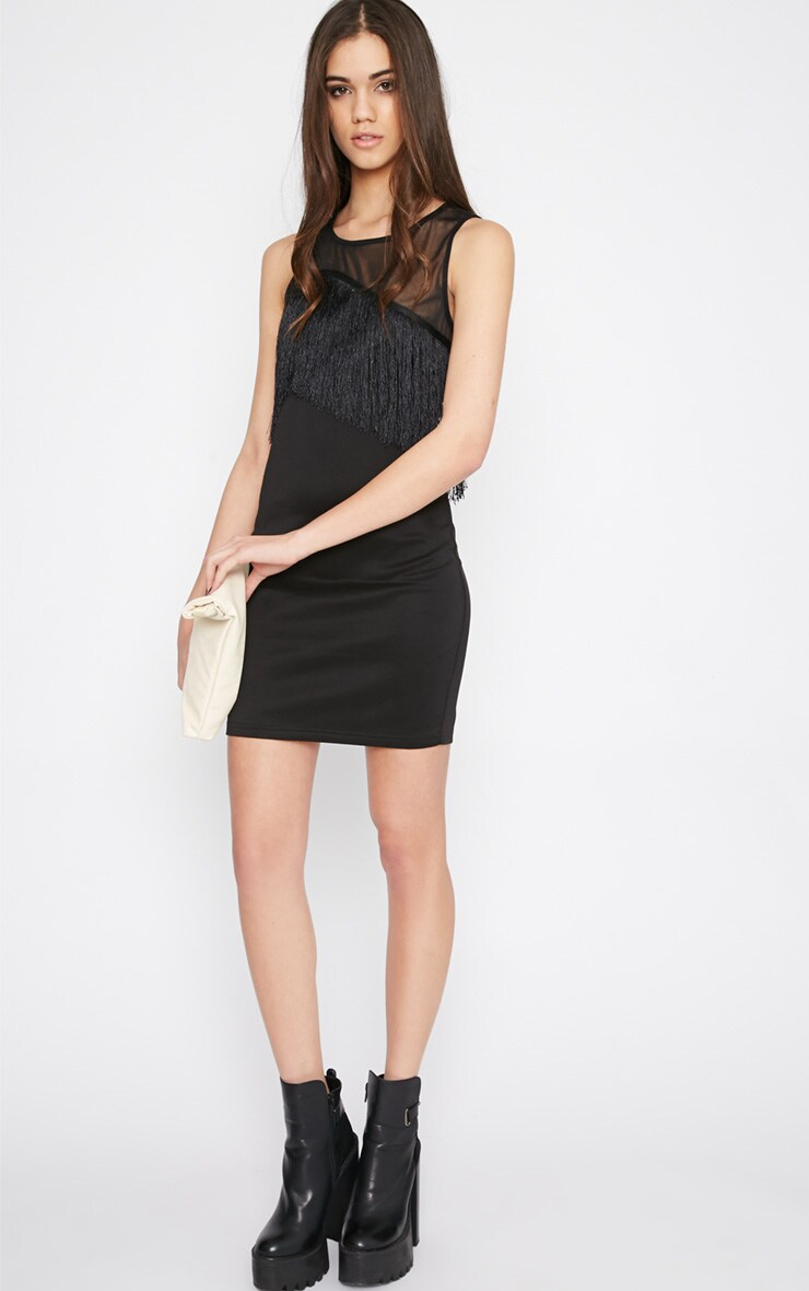 Mireya Black Tassel Mini Dress 3