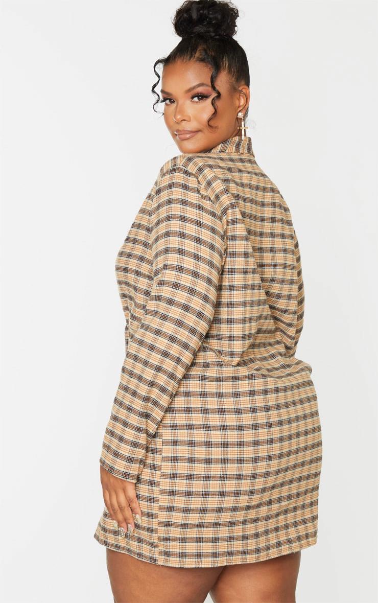 Plus Beige Check Oversized Blazer Dress 2