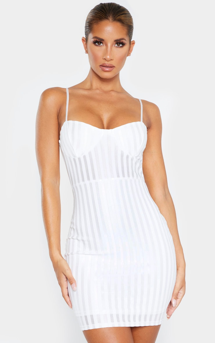 White Strappy Cup Detail Striped Bodycon Dress 1