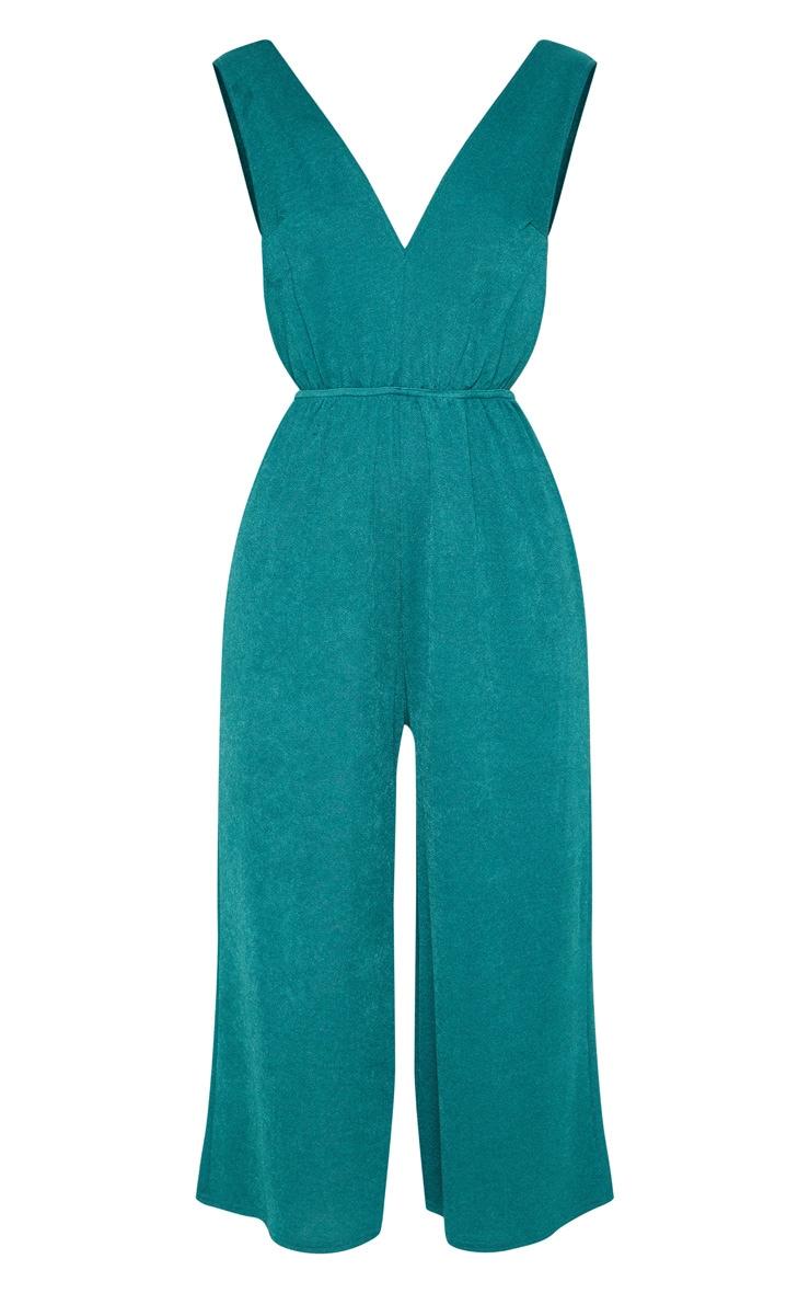 Emerald Green V Strap Culotte Jumpsuit 3