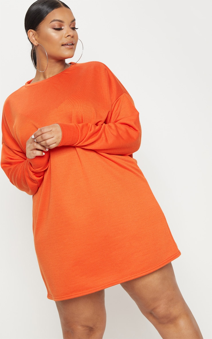 Plus Orange Oversized Sweater Dress 4
