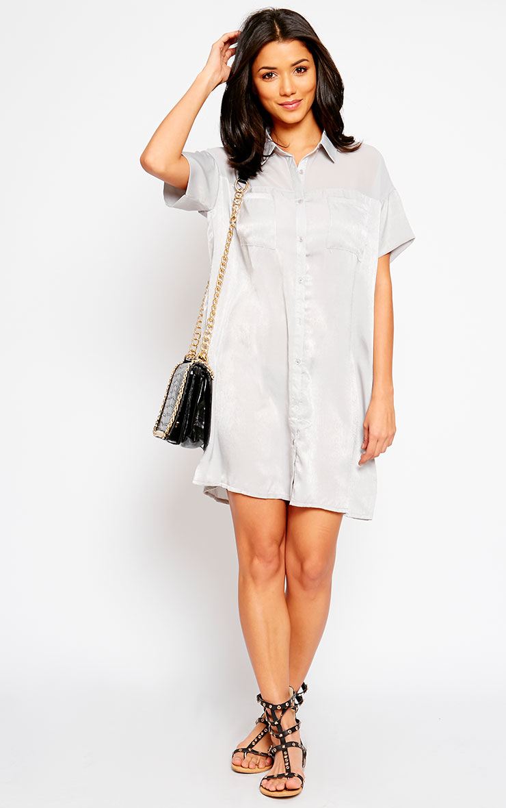 Dina Grey Silky Panel Shirt Dress 3