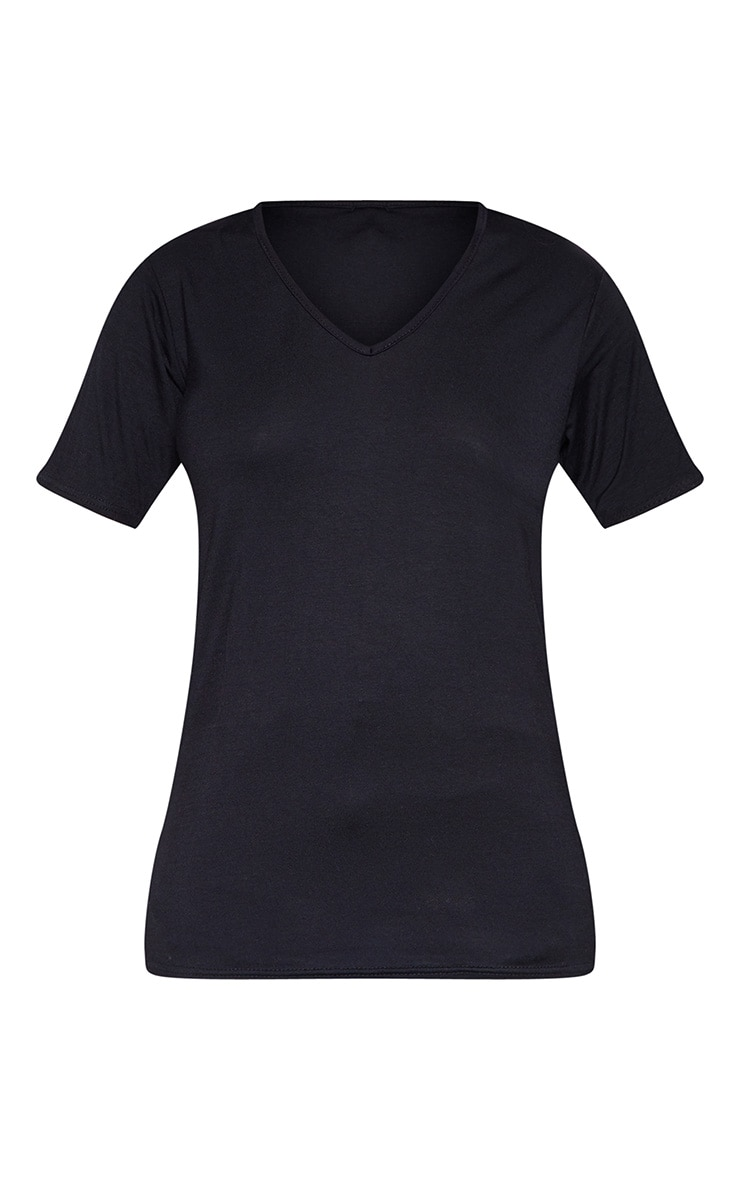 Tall Black Basic V Neck T shirt 3