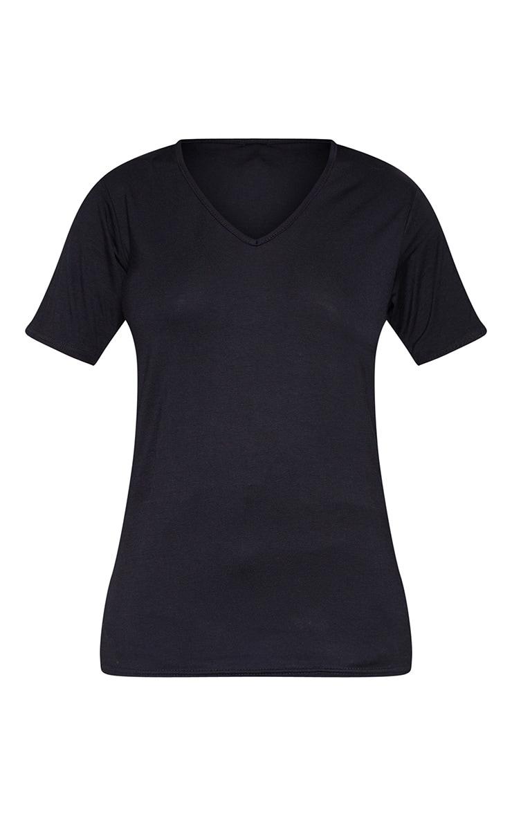 Tall Black  Basic V Neck T shirt  3