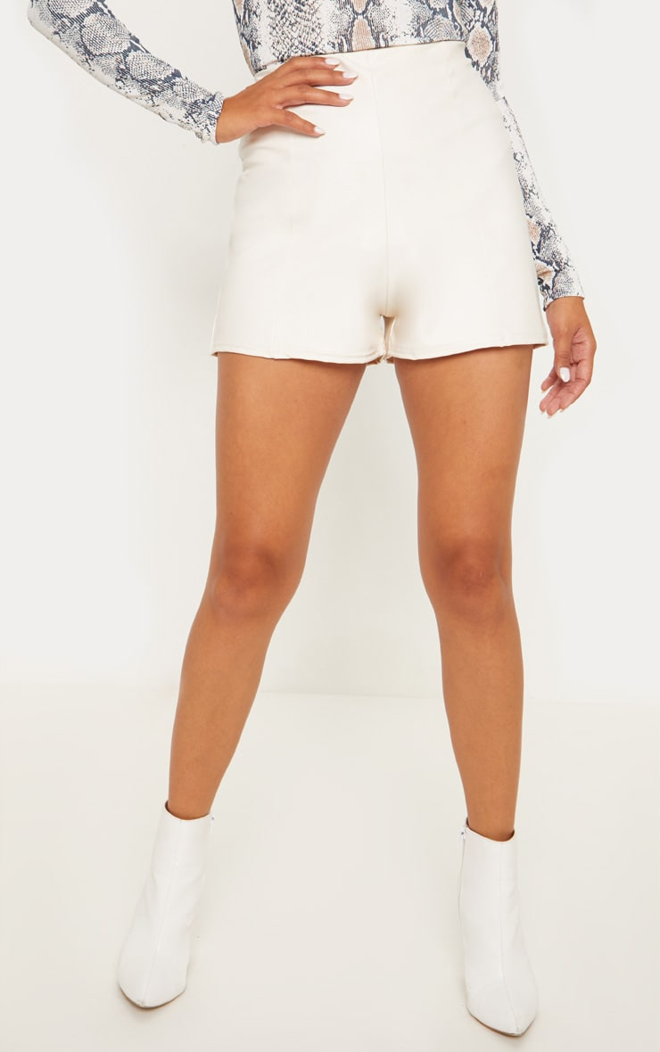 Cream Faux Leather Seam Front Short 2