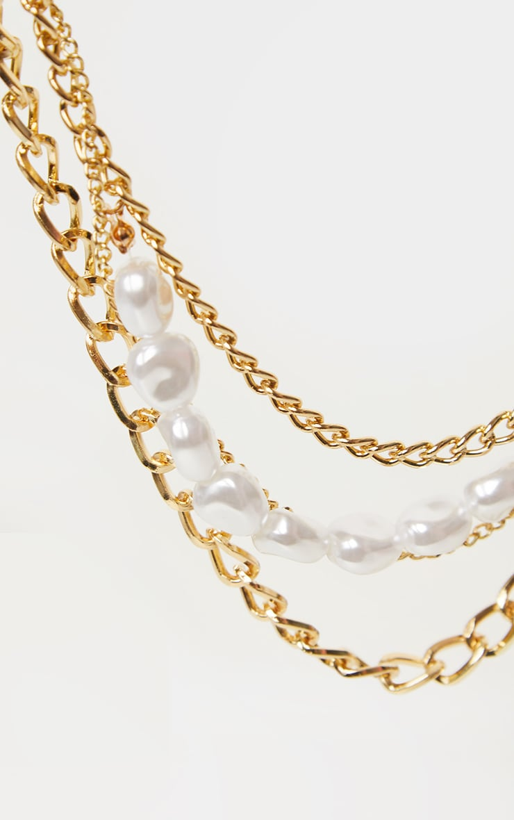 Gold Layered Chain Pearl Necklace 4
