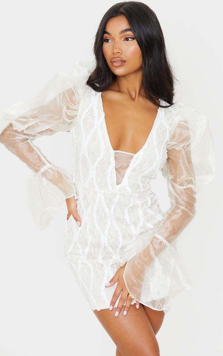 White Organza Sleeve Lace Bodycon Dress 1