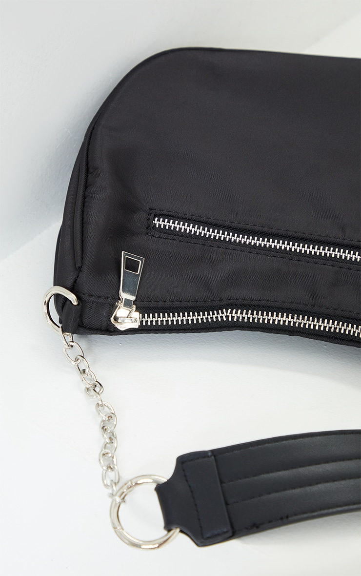 Black With Silver Chain Shoulder Bag 4