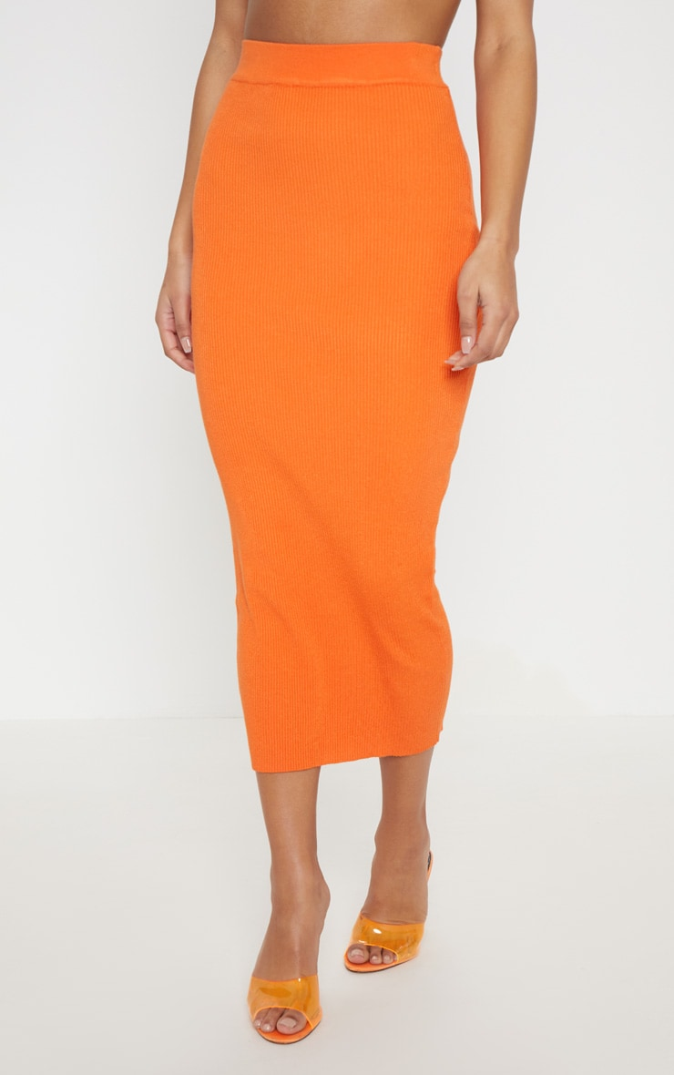 Orange Knitted Ribbed Co Ord 2