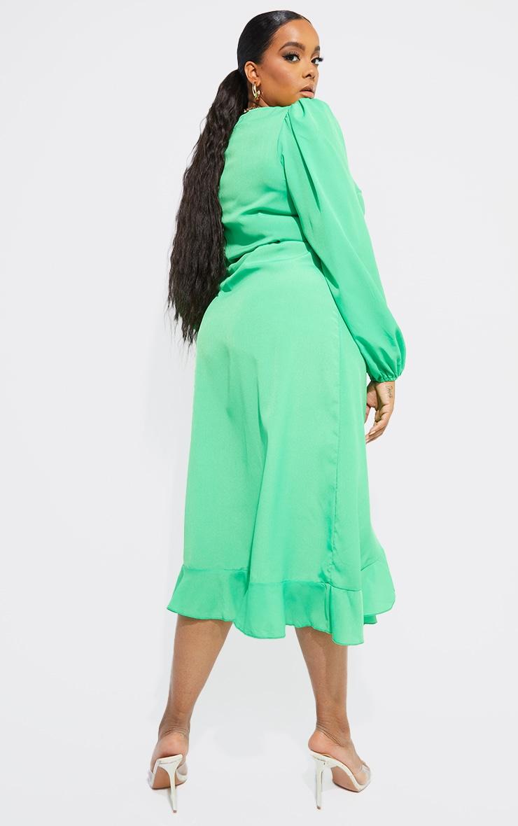 Plus Bright Green Ruffle Wrap Front Midi Dress 2