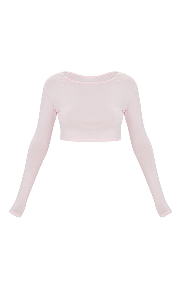 Pink Basic Jersey Long Sleeve Crop Top 5