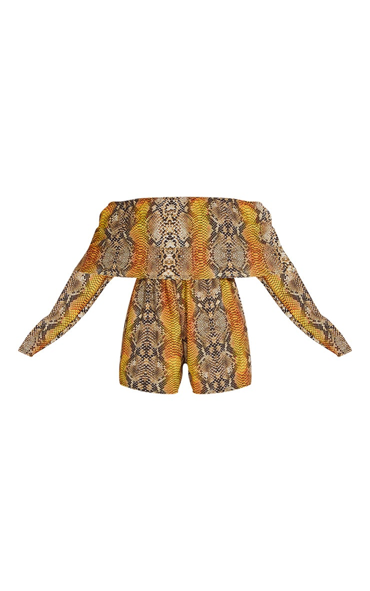 Tan Snake Print Bardot Layered Playsuit 5