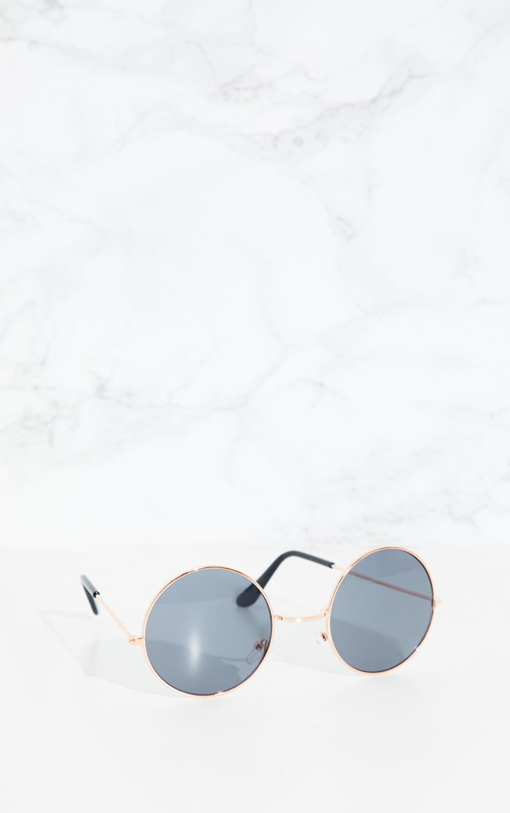 Gold Small Round Sunglasses 3