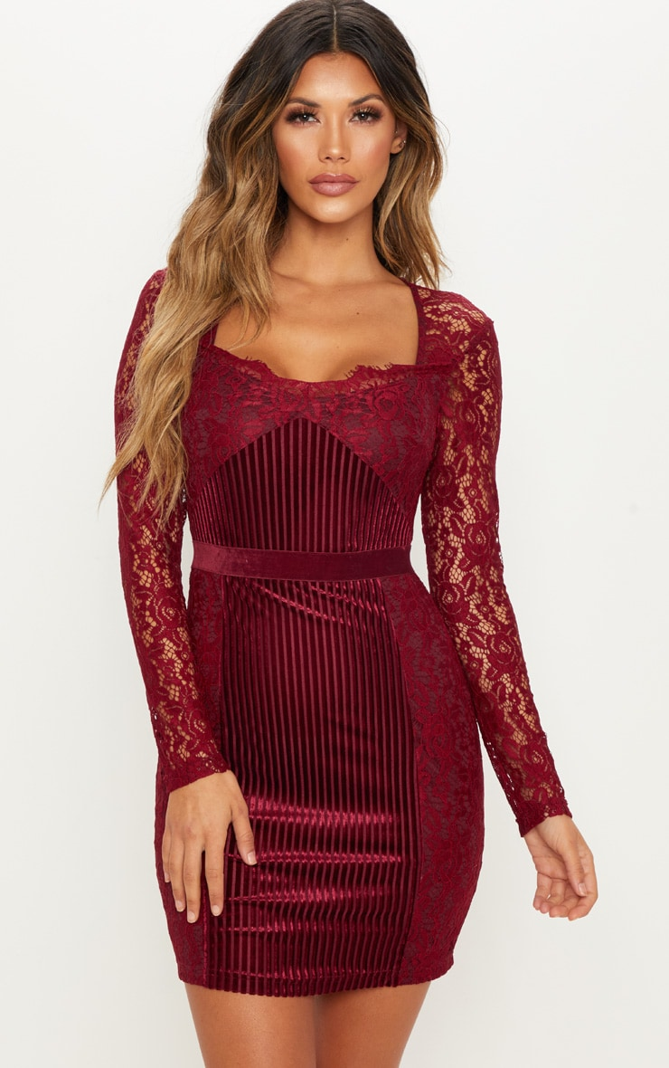 Burgundy Lace Velvet Insert Bodycon Dress image 1 6df2b9c910e7