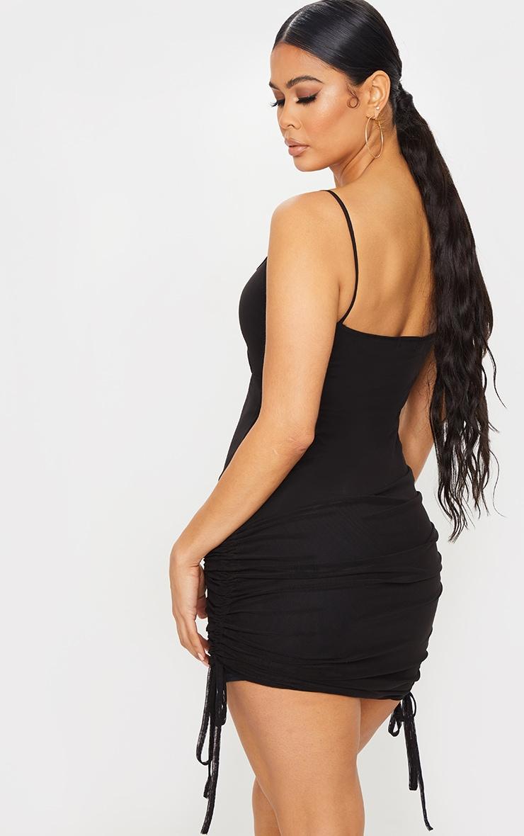 Black Mesh Cut Out Bodycon Dress 2