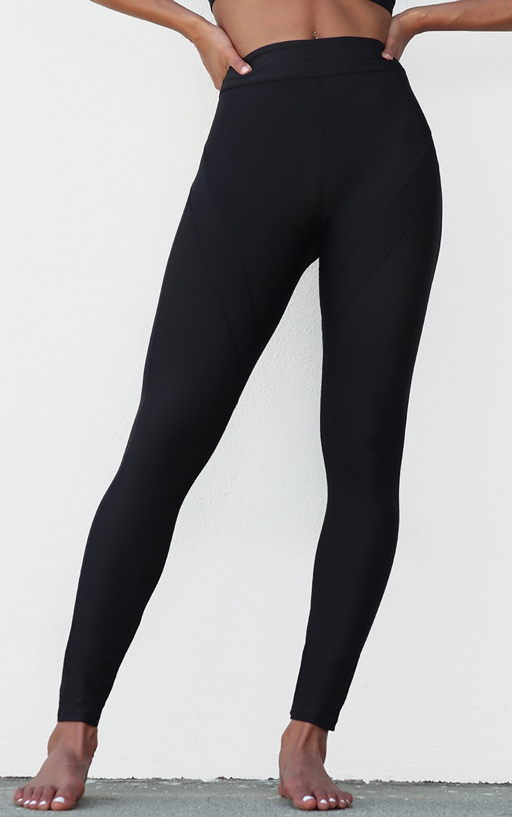 Black Premium Contrast Panel High Waist Gym Legging 2