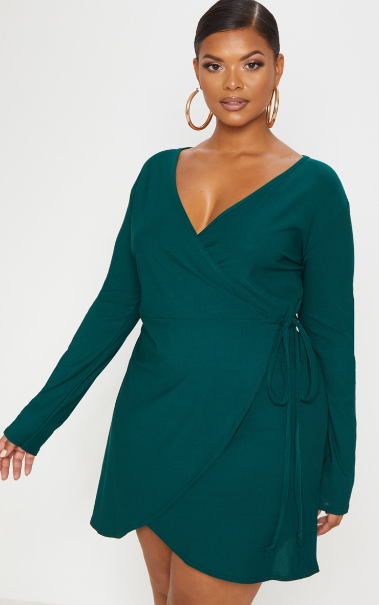 Plus Emerald Green Wrap Long Sleeve Tea Dress