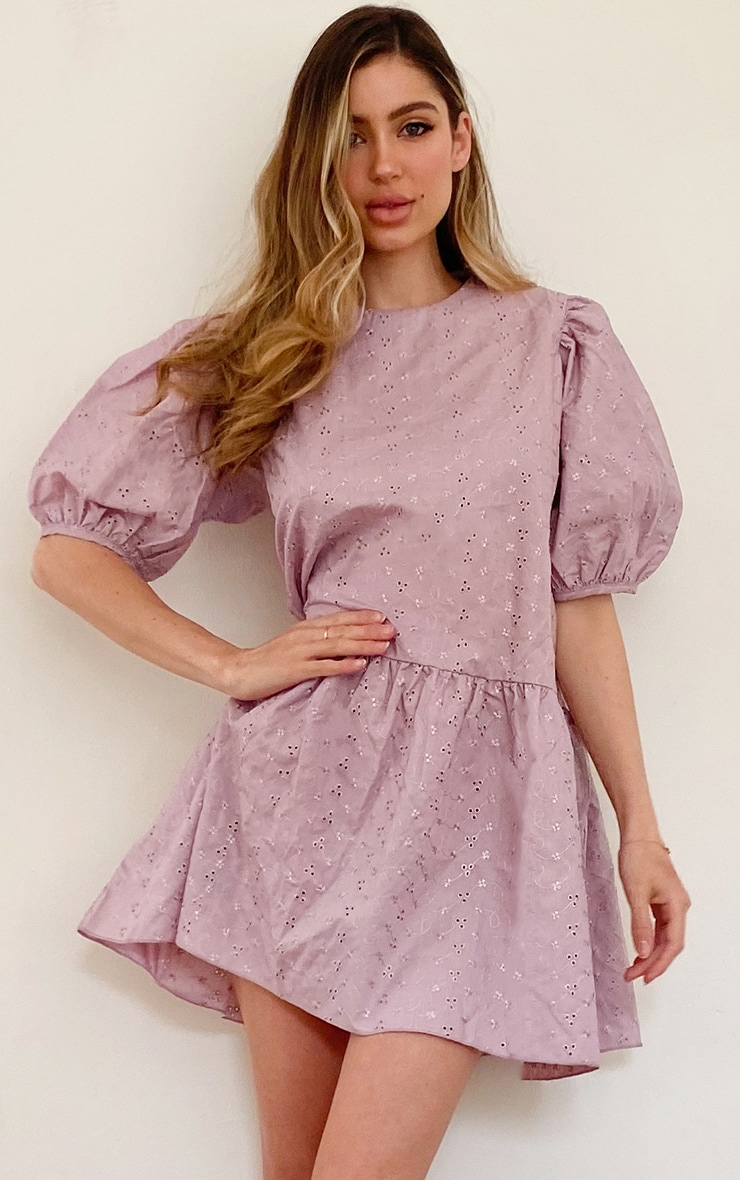 Lilac Broderie Anglaise Puff Sleeve Skater Dress 1