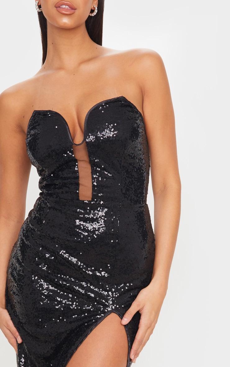 Black Sequin V Bar Extreme Split Midi Dress 5