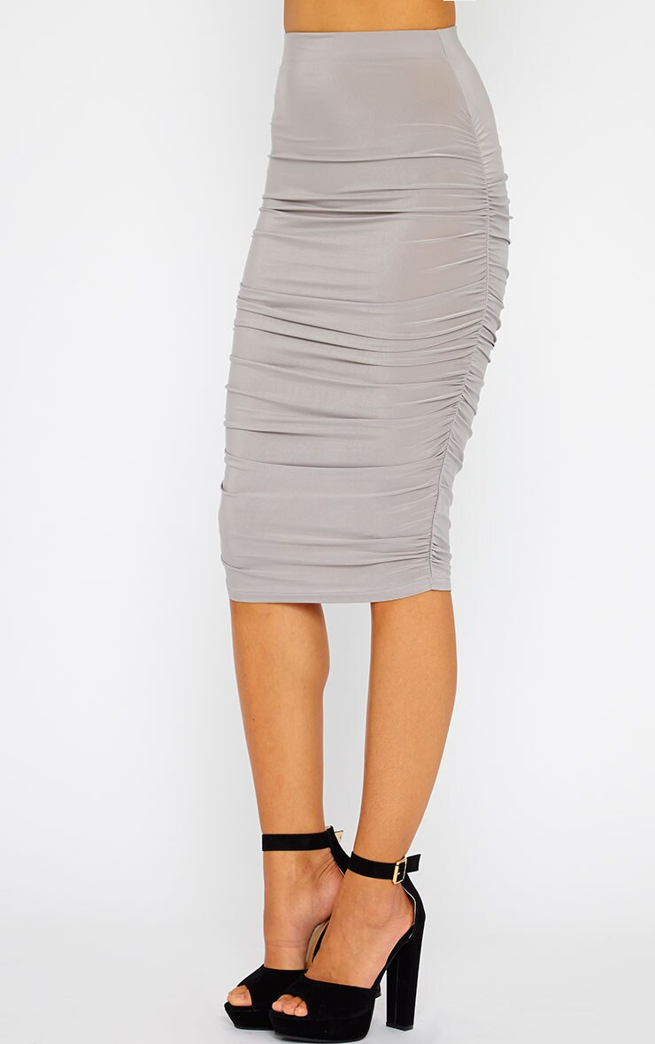 Saylor Grey Gathered Midi Skirt 4