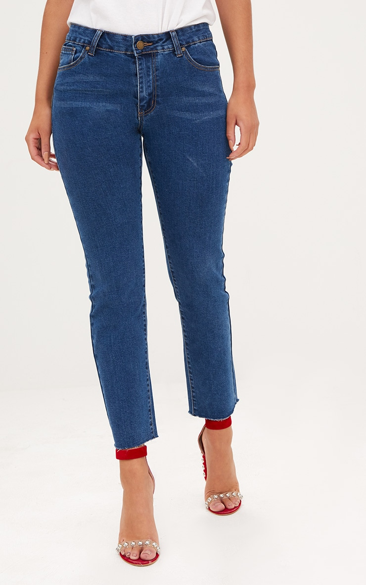 Dark Blue Raw Hem Slim Leg Jean 2