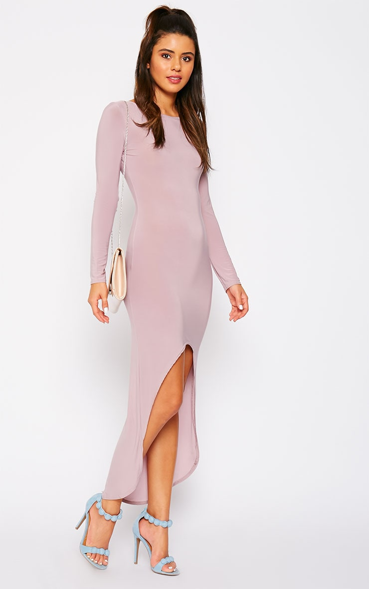 Fearne Mauve Slinky Dip Hem Dress 3