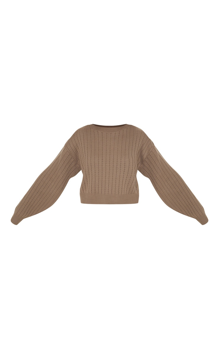 Taupe Ribbed Balloon Sleeve Cropped Jumper  3