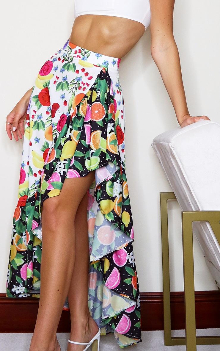 White Floral Polka Fruit Print Beach Skirt 4