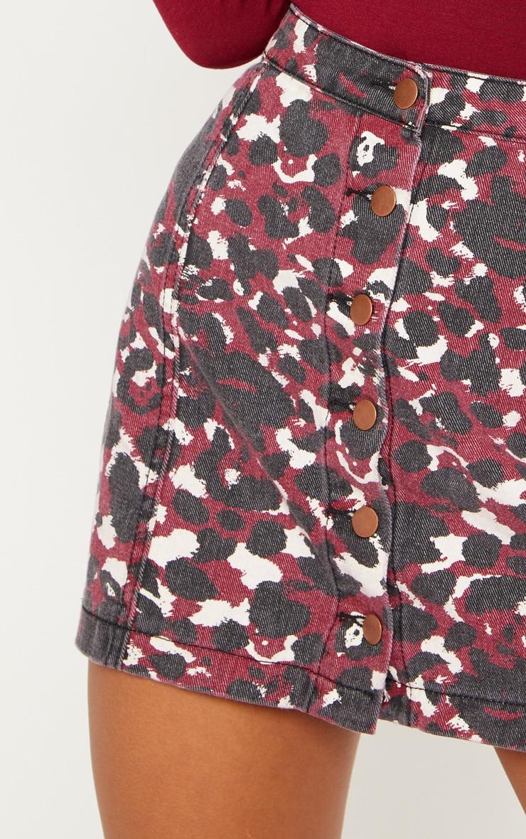 Burgundy Blurred Leopard Button Through Denim Skirt 6