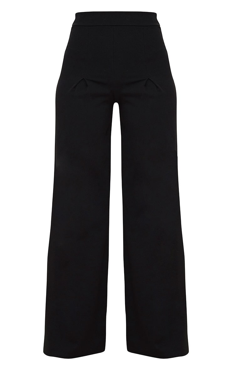 Petite Black Pleat Front Wide Leg Trousers 3