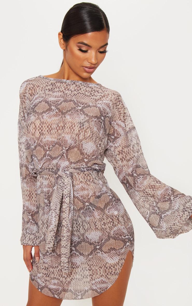 Grey Snake Print Sheer Glitter Plisse Shift Dress 1