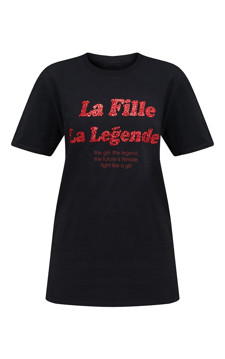 Black La Fille Glitter Slogan T Shirt 3