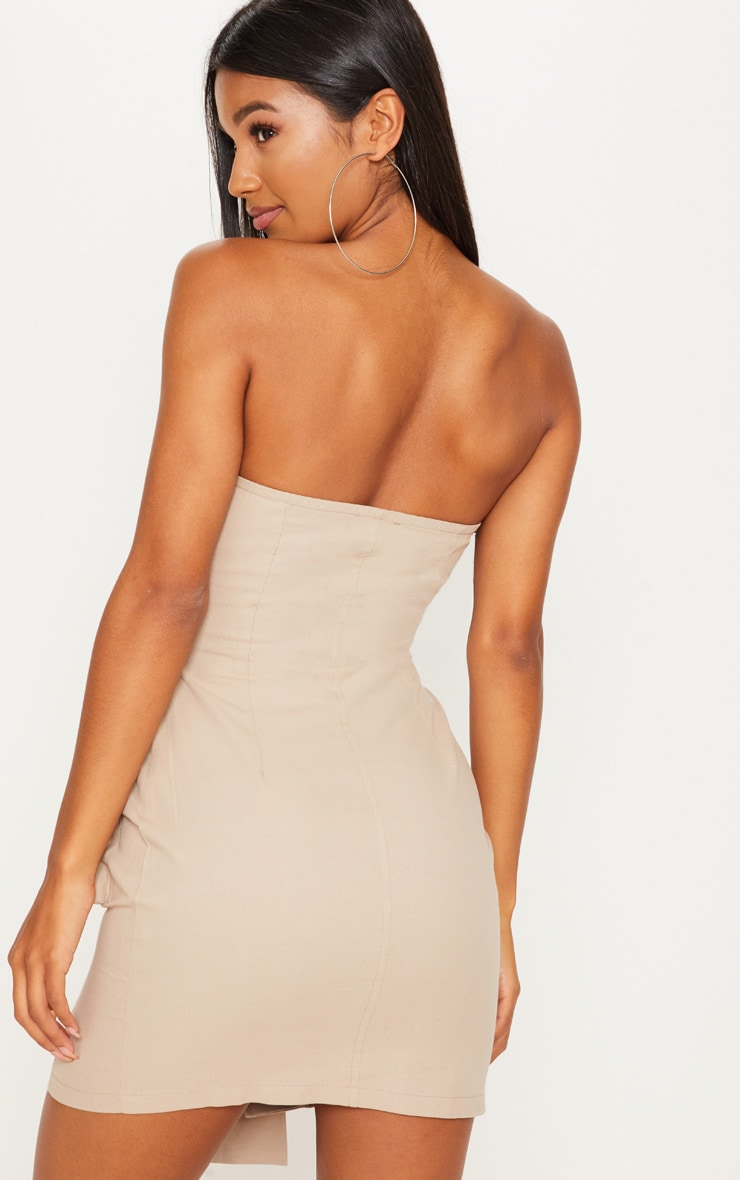 Stone Cargo Utility Bandeau Wrap Bodycon Dress 2