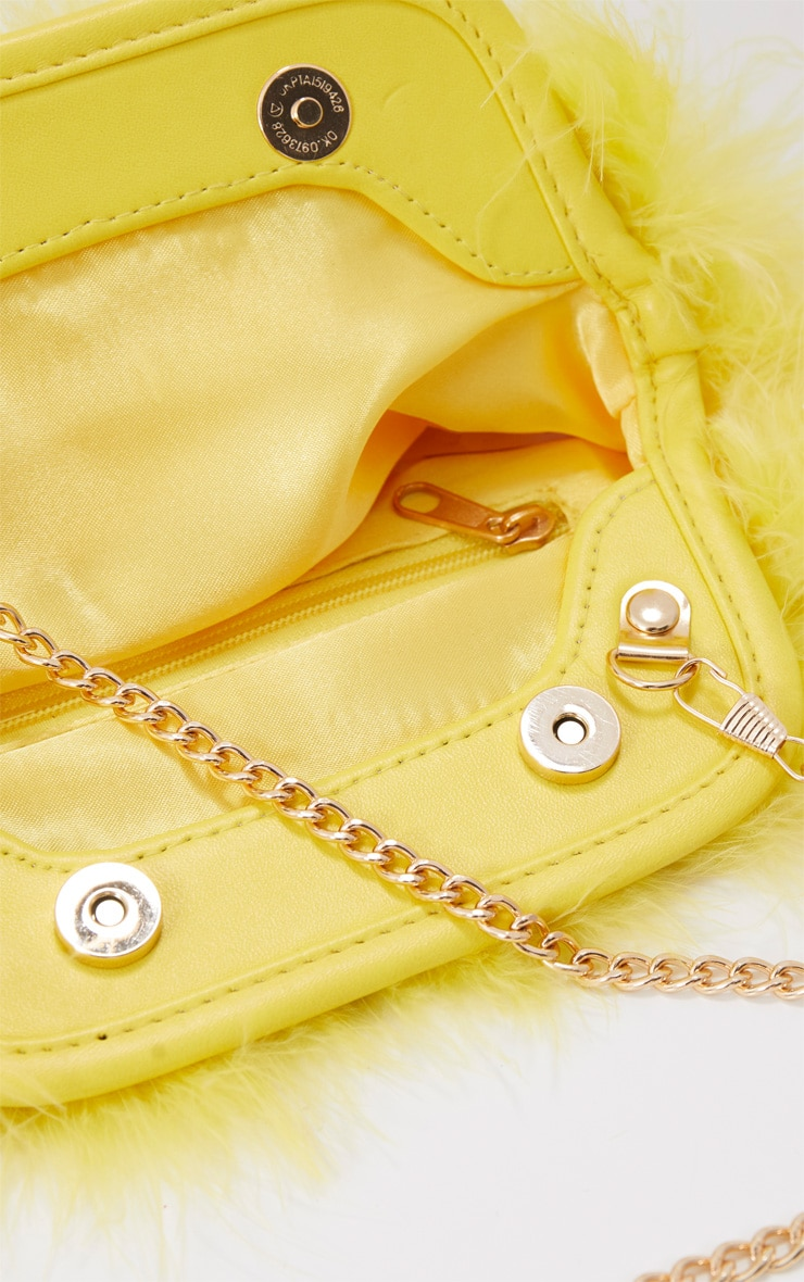 Yellow Marabou Feather Clutch Bag 5