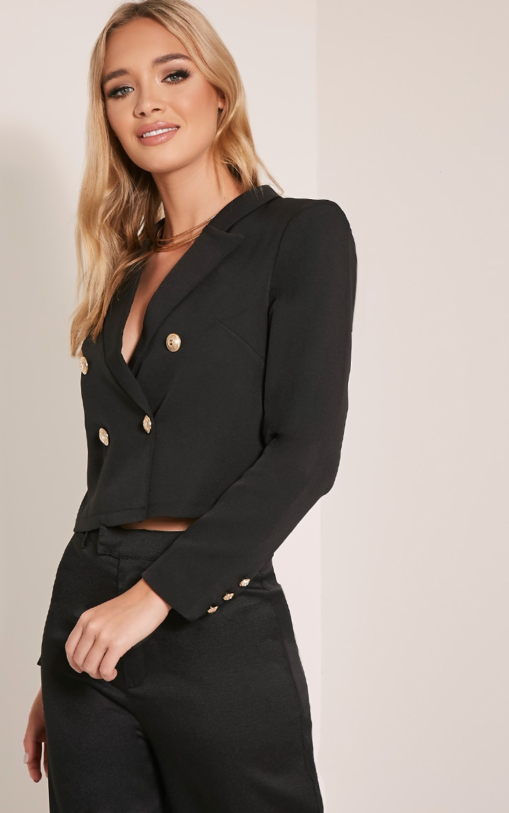 Dionne Black Cropped Military Style Blazer 1