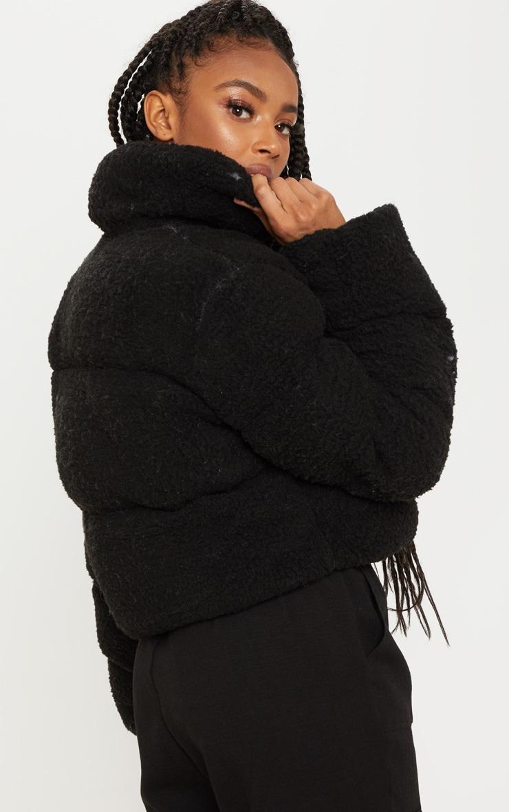 Doudoune noire en faux-mouton 2