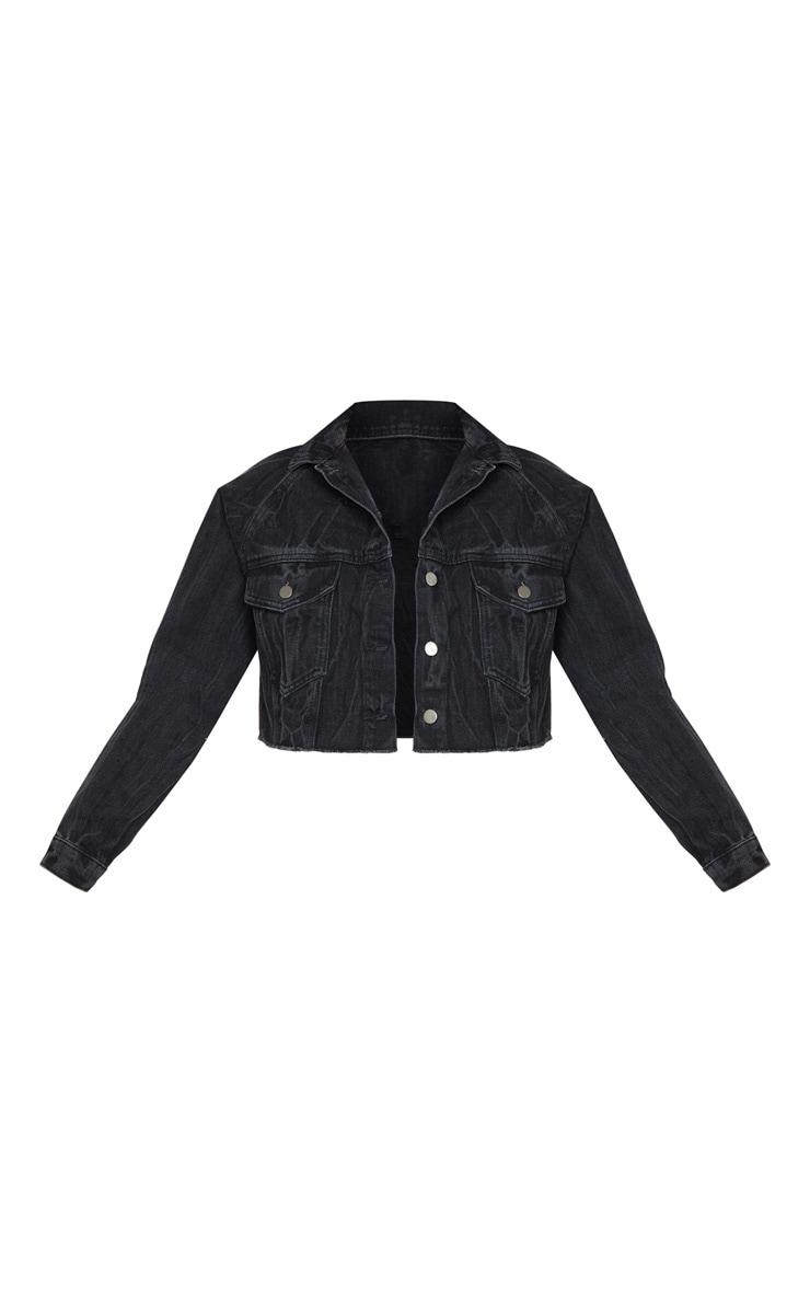 Washed Acid Black Cropped Denim Jacket 5