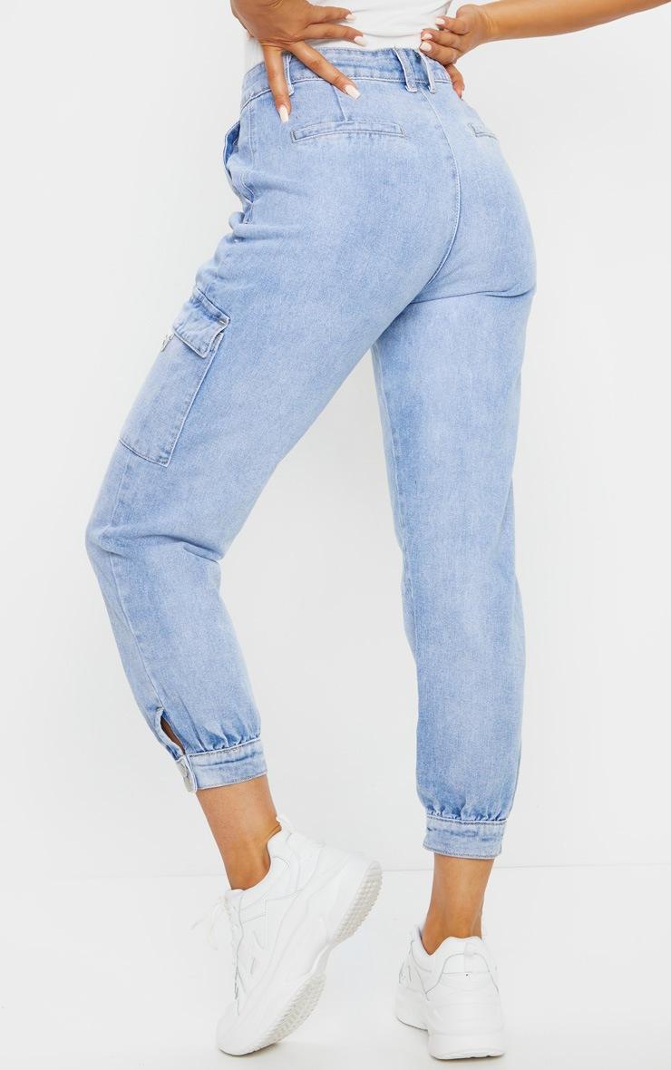 Vintage Wash Cargo Pocket Denim Jeans 3