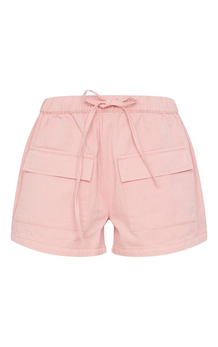 Pink Pocket Front Elasticated Waist Denim Shorts 6