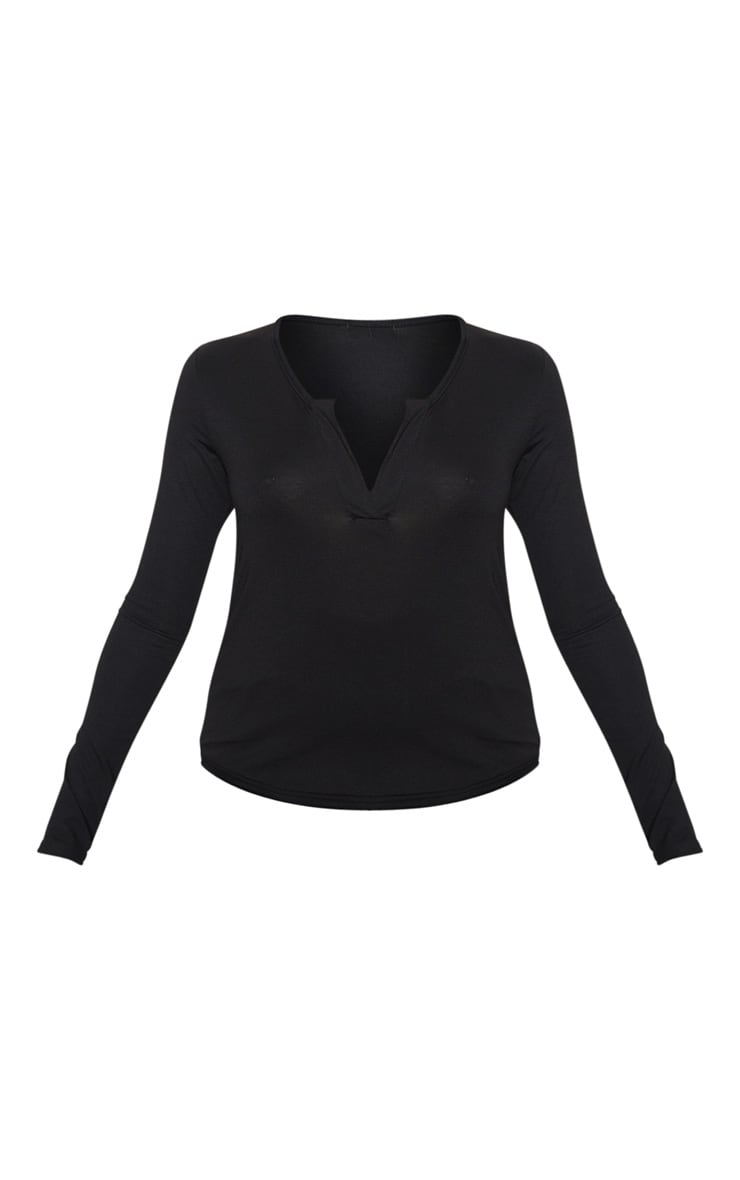 Petite Black V Neck Long Sleeve T-Shirt 3